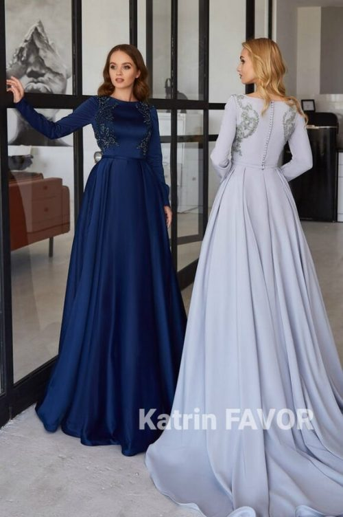 Satin Beaded Tznius Modest Formal Dress Long Sleeves