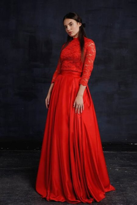 Two Piece Red Lace Silk Modest Prom Dress