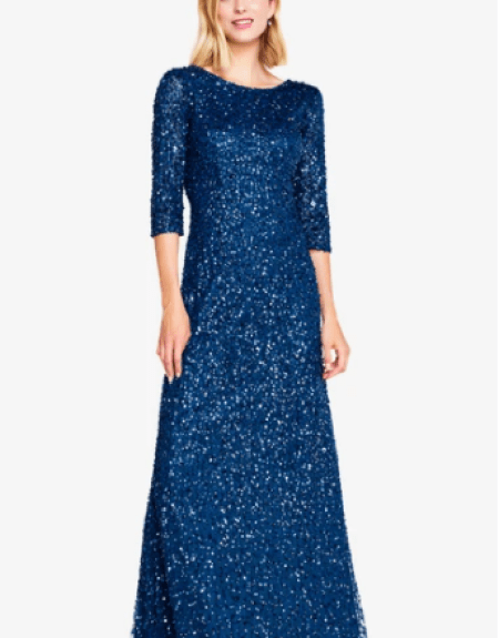 Adrianna Papell Sapphire Sequin Modest Gown Long Sleeves Boat Neck
