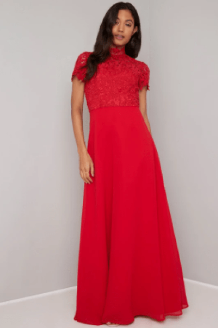 Red Lace Modest High Neck Formal Chi Chi London