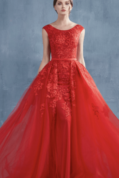 Red Lace Tulle Modest Prom Dress Cap Sleeves