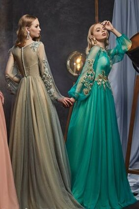 Blush Gray Bishops Sleeves Tulle Modest Prom Dress