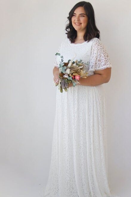 Boho Ivory Lace Butterfly Sleeves Modest Wedding Dress Pockets Bouquet