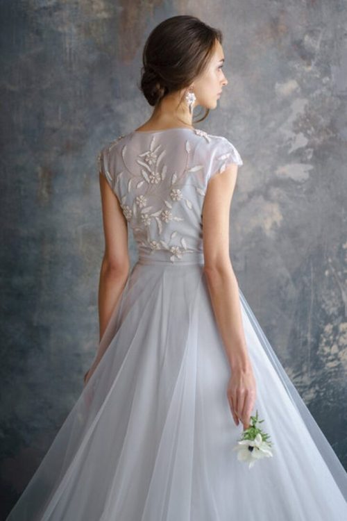 Dusty Blue Modest Wedding Dress Cap Sleeves Embroidery Back View