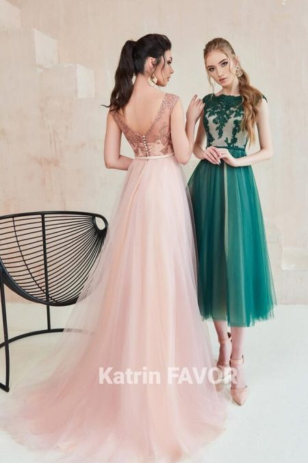 Forest Green Blush Pink Lace Bodice Tulle Skirt Cap Sleeves Modest Prom Dress