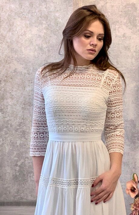 Ivory Abstract Lace Modest Wedding Dress Three Quarter Sleeves Bodice Detail
