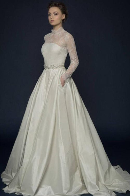 Ivory Silk French Lace Modest Wedding Dress Long Sleeves High Neckline Pockets
