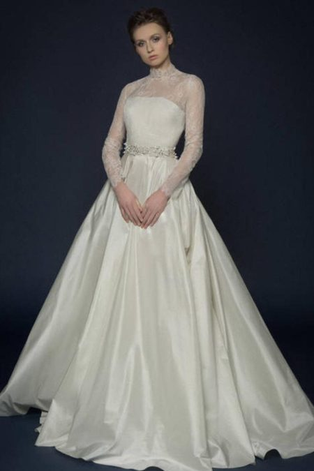 Ivory Silk French Lace Modest Wedding Dress Long Sleeves High Neckline