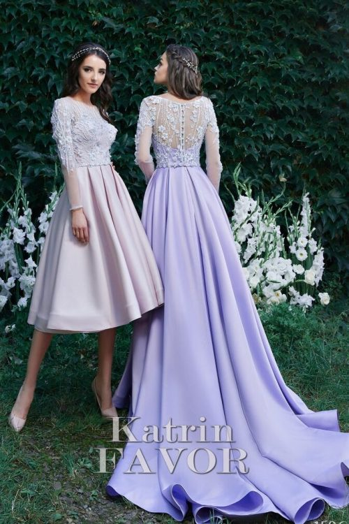 Light Shell Pink Light Purple Embroidered Lace Modest Prom Dress Long Sleeves