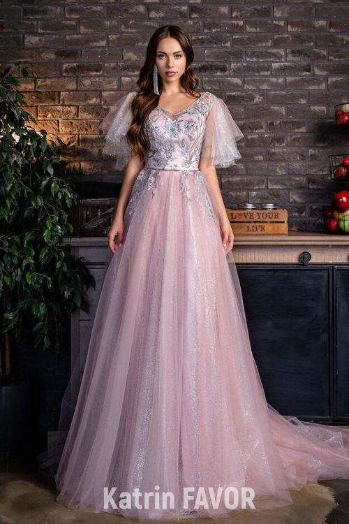 Pink Glitter Tulle Embroidered Bodice Half Sleeve Modest Prom Dress