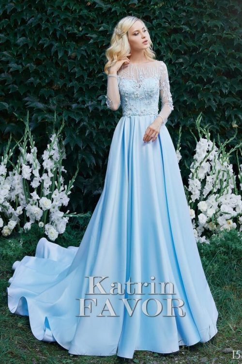 Sky Blue Embroidered Lace Modest Prom Dress Long Sleeves
