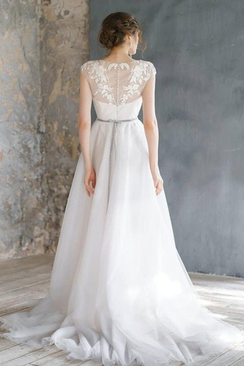 Tulle Embroidery Lace Romantic Cap Sleeve A Line Skirt Modest Wedding Dress Back View