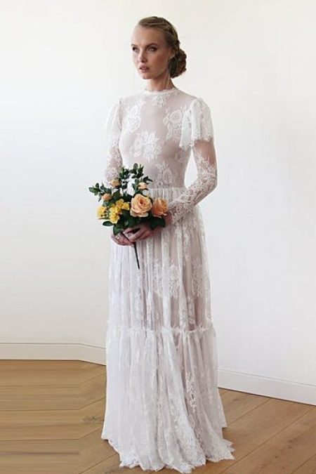 White Lace Beige Lining VIctorian Inspired Modest Wedding Dress