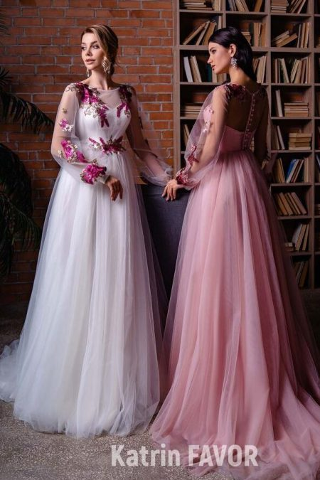 White Light Pink Bishops Sleeves Modest Prom Dress