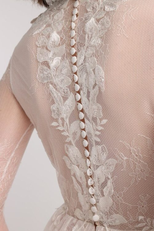 Blush Lace Tulle Sequins Tznius Modest Wedding Dress Long Sleeves Back Button Detailing