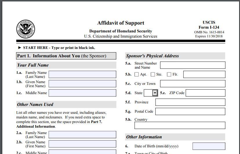 Mẫu đơn Bảo Trợ Tài chính – form I-134