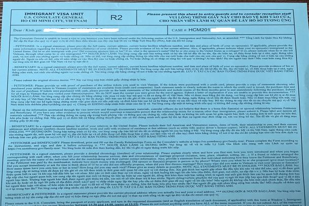 Bổ túc hồ sơ sau khi phỏng vấn Mỹ