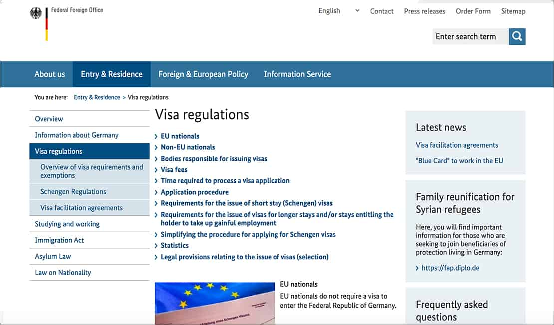 ministry of foreign affairs websites