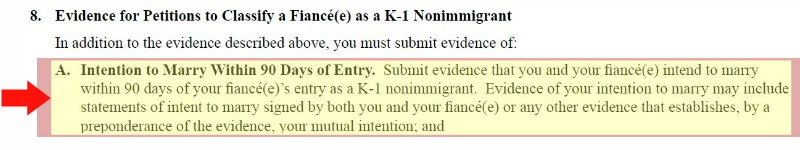 The I-129F petition proof letter of intent to marry your fiance for the k1 visa