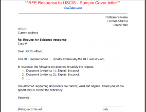 I 129F Request For Evidence (RFE)