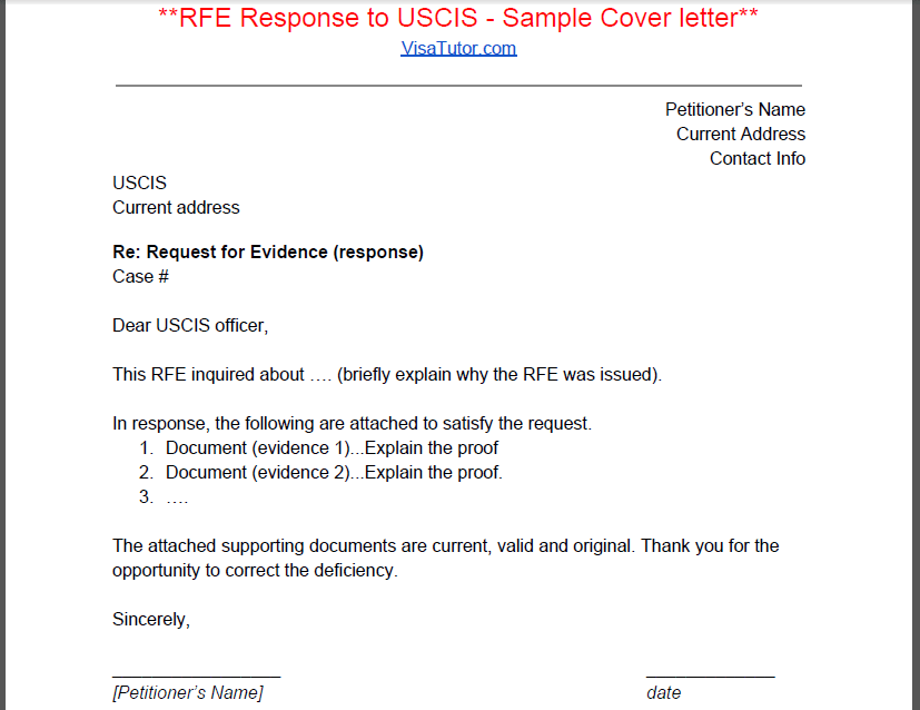 Uscis Rfe Cover Letter