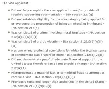 INA reasons for a k1 fiance visa denial