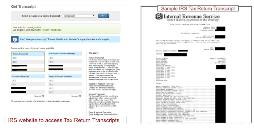 Irs Transcripts For Form I 134 Visa Tutor
