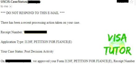 "The USCIS alerts you of approval with email I-129F ""post decision activity"""