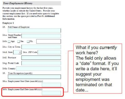 Form I-129F question 16.b asks about the US petitioner's employment history. What if you currently work here?