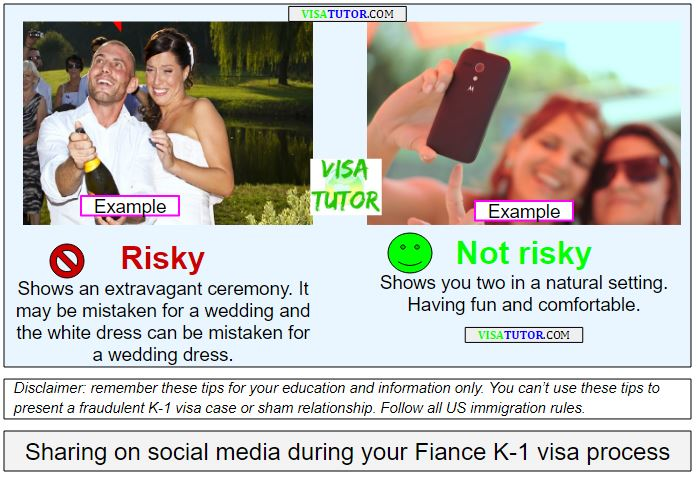 tips about sharing photos on social media or facebook during your fiance K-1 visa process. It's risky / or not risky depending on the contents