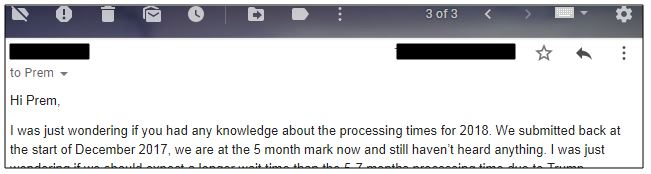 A reader asking about the time for processing the I-129F while with the USCIS for her fiance visa