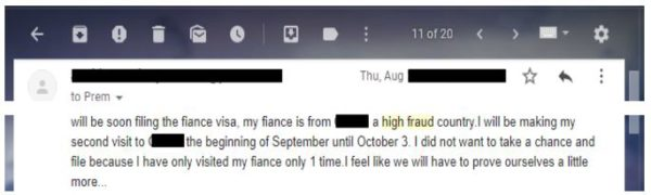 email I got from a reader who thought the fiance was in a high fraud risk country for the k-1 visa