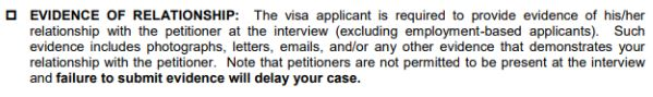 The instructions of the fiance K-1 visa interview don't tell much about how to present the evidence. This is an example from the US Embassy in Bangkok