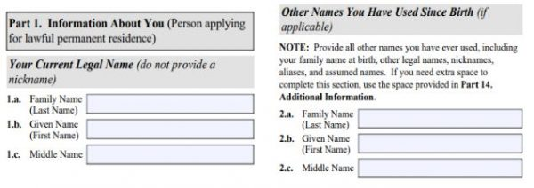 Use your new married name in the I-485 adjustment of status if your a K-1 visa applicant