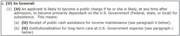 US DOS guidance on what is a public charge for the fiance k1 visa
