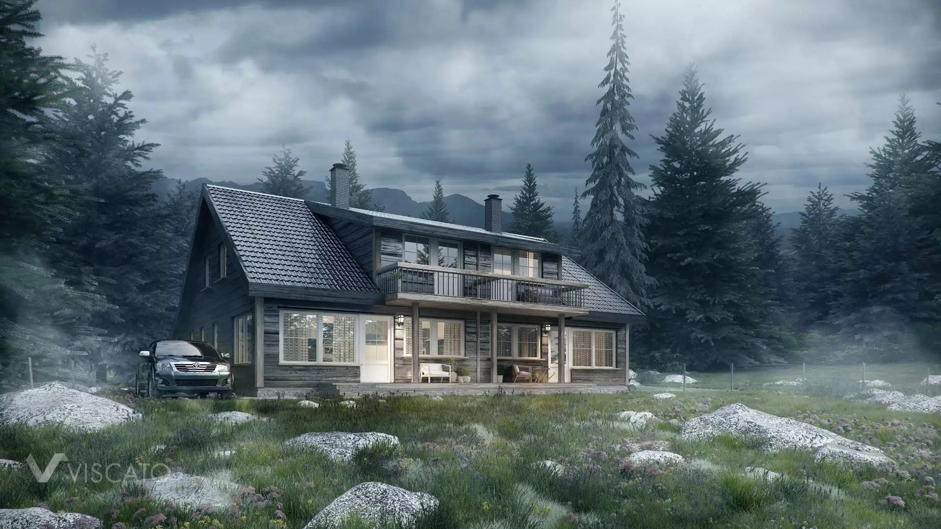 Wooden Cottage In Norwegian Forest