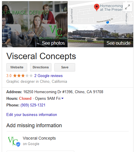 You could have a box like this show up in search results for your company.