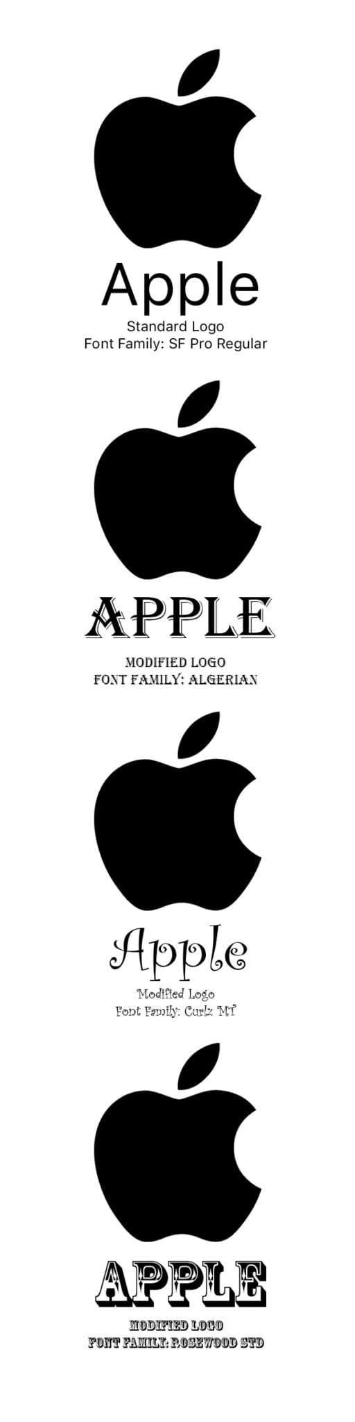 Apple's logo takes on a different nature when you change the font.