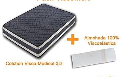 COLCHÓN VISCOELÁSTICO DOBLE CARA VISCO-MEDICOT 3D-90x190cm + ALMOHADA VISCOELÁSTICA 100% BLOQUE SÓLIDO DESENFUNDABLE CON ALOE VERA(1X90CM)