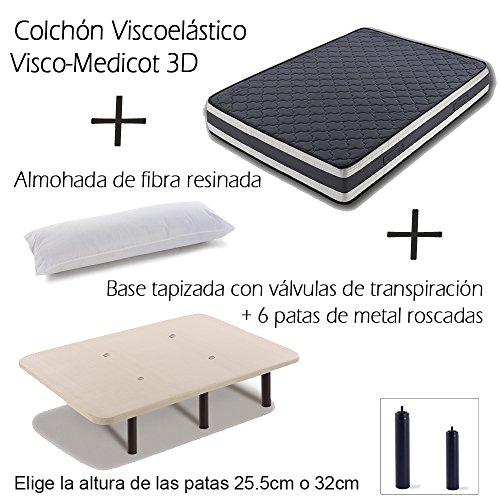 Base Tapizada más Colchón Viscoelástico VISCO MEDICOT 3D y Almohada Fibra Resinada (90×190 cms – Metal 32 cms)