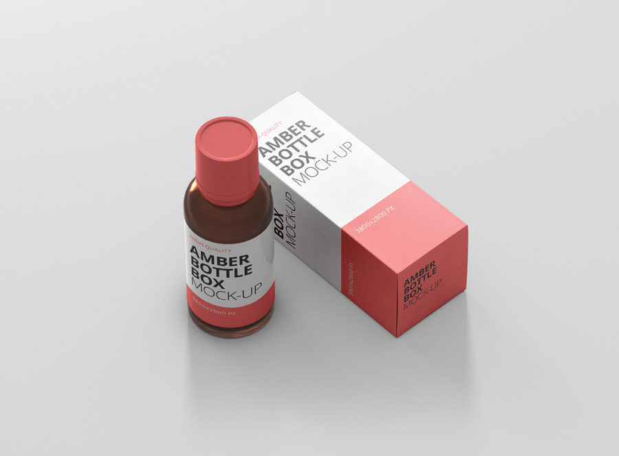 Download Amber Bottle Box Mockup - Premium and Free Mockups by ...