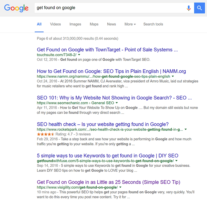 Ranked 56 out of 313 Million Google Results