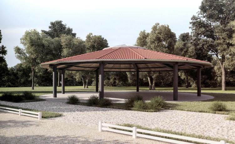 Rendering eines exlusiven Pferdeunterstand / Pavillon in Butzbach bei Riedmühle.