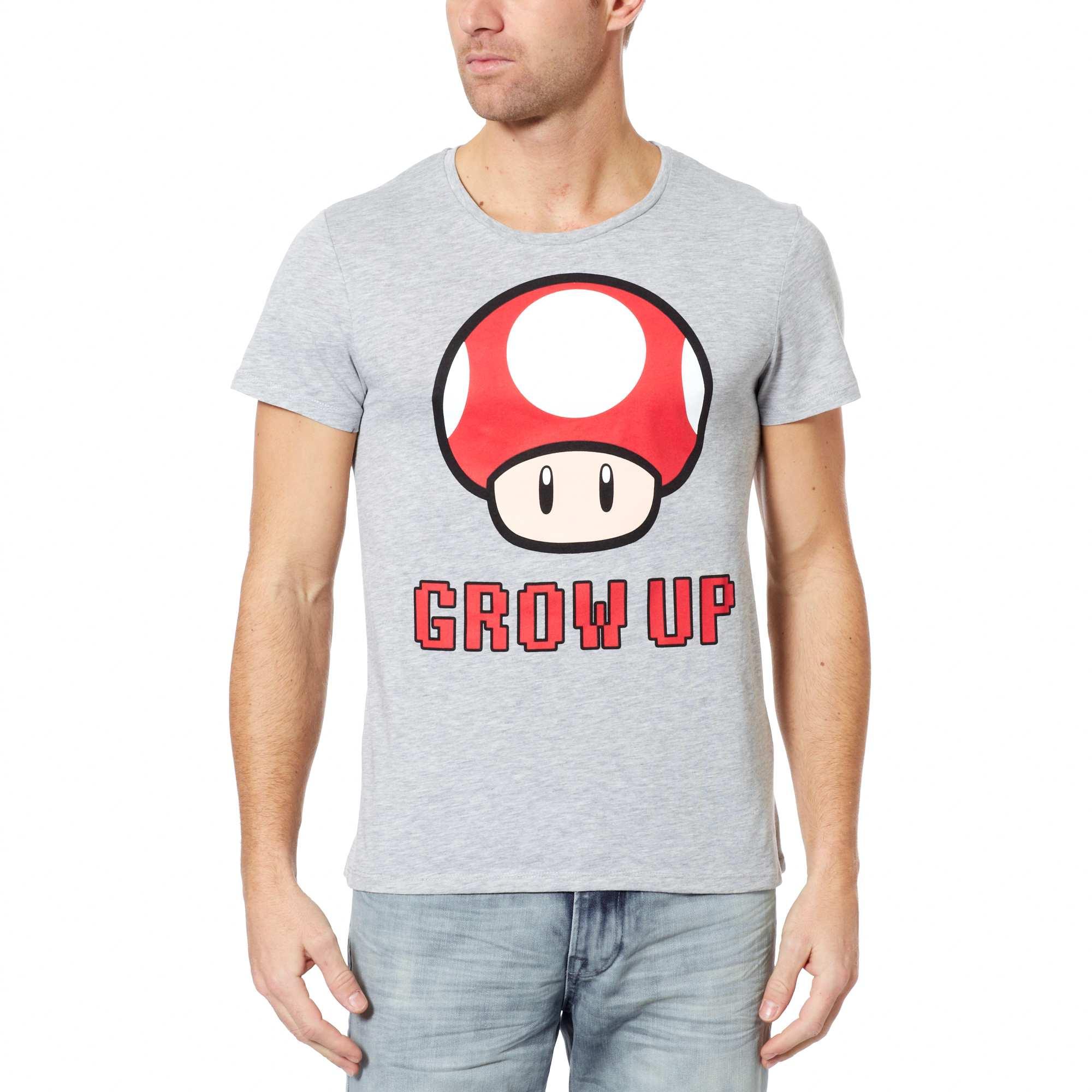 tee shirt imprime super mario champignon homme gj547 1 zc1. Black Bedroom Furniture Sets. Home Design Ideas