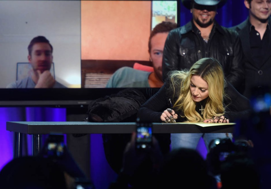 NEW YORK, NY - MARCH 30:  Madonna onstage at the Tidal launch event #TIDALforALL at Skylight at Moynihan Station on March 30, 2015 in New York City.  (Photo by Jamie McCarthy/Getty Images for Roc Nation)