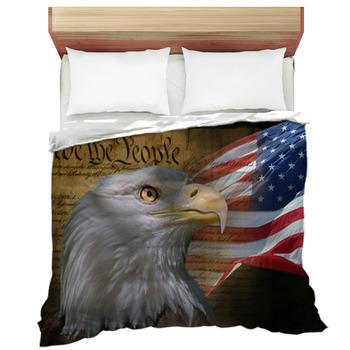 bald eagle and american flag comforter