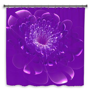 beautiful purple flower on purple shower curtain