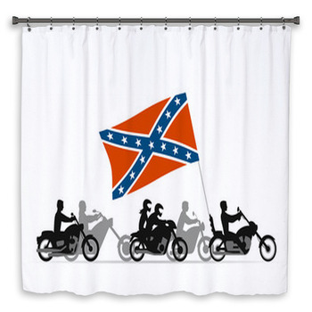 bikers on motorcycles with custom size shower curtain