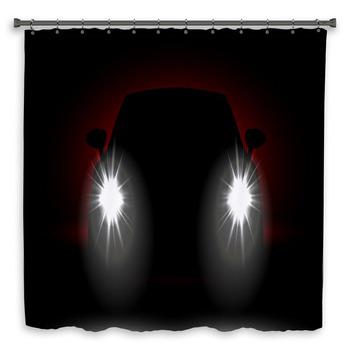 car headlights shining in the custom size shower curtain