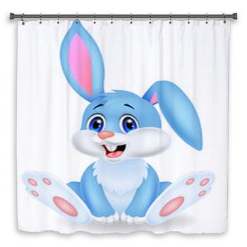 cute rabbit cartoon custom size shower curtain